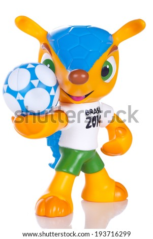 RIO DE JANEIRO - MAY 18, 2014: Fuleco plastic mascot. Fuleco is the official mascot of the FIFA World Cup in Brazil in 2014. - stock photo