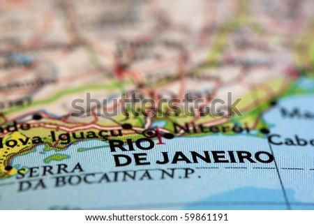 Rio de Janeiro on the Map - stock photo