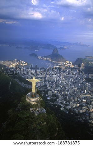 Rio de Janeiro, RJ, Brazil :  Aerial view of Christ, symbol of Rio de Janeiro, standing on top of Corcovado Hill, overlooking Guanabara Bay - stock photo