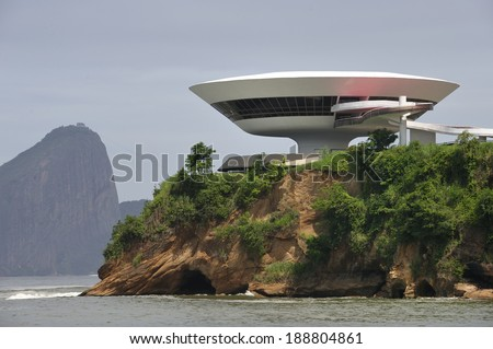 Rio de Janeiro, RJ, Brazil-April 9, 2010: Oscar Niemeyer's Niteroi Contemporary Art Museum, one of the masterpiece of modern architecture, built in 1996