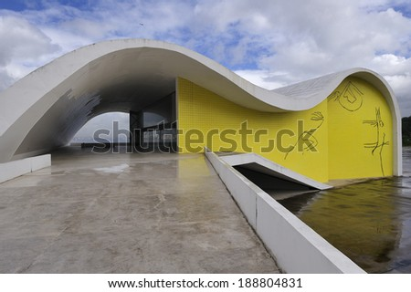 Rio de Janeiro, RJ, Brazil-April 9, 2010: Oscar Niemeyer's Popular Theater of Niteroii. The theatre presents the concrete curves that make up the architect's identifying mark, built in 2008 - stock photo