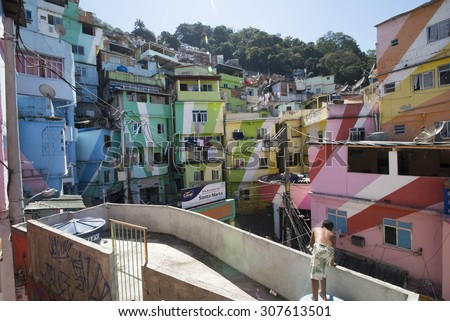 RIO DE JANEIRO, RJ - BRAZIL, AUGUST, 15, 2015 - Community Santa Marta, first pacified favela in the city of Rio de Janeiro, some social work is carried out here - stock photo