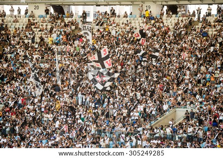 RIO DE JANEIRO, RJ - BRAZIL, AUGUST, 09, 2015 - Vasco fans during the match between Vasco and Figueirense at the Maracana Stadium by the Brazilian championship - stock photo