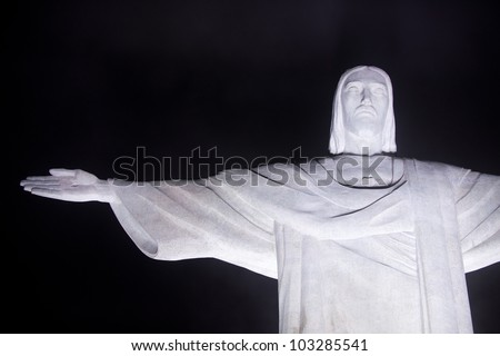 RIO DE JANEIRO, RJ/Brazil - MARCH 01 2011. Christ the Redeemer testing it's new led light in a fog night. Located on top of Corcovado, Rio's highest mountain on march 01, 2011 in Rio de Janeiro. - stock photo