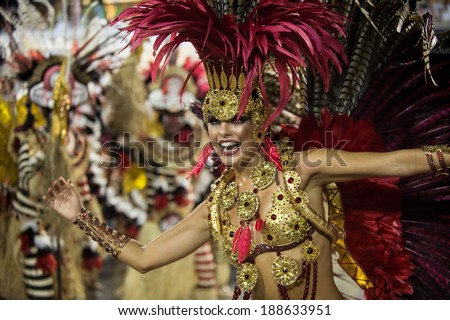 RIO DE JANEIRO, RJ /BRAZIL - MARCH 02:  parade of samba schools Academicos do Grande Rio, especial group in Carnival 2014 on march 02, 2014 in Rio de Janeiro - stock photo