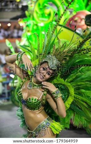 RIO DE JANEIRO, RJ /BRAZIL - MARCH 01:  parade of samba schools Viradouro, access group in Carnival 2014 on march 01, 2014 in Rio de Janeiro. - stock photo