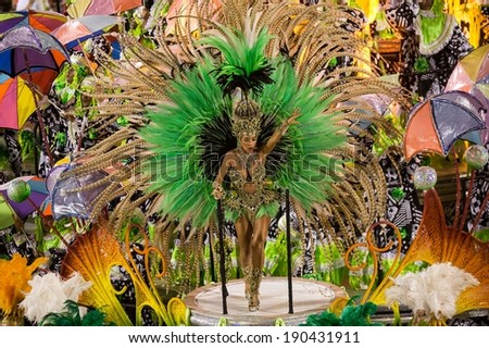 RIO DE JANEIRO, RJ /BRAZIL - MARCH 03:  Rio Samba School Mocidade Independente de Padre Miguel perform, especial group in Carnival 2014 at Marques de Sapucai on march 03, 2014 in Rio de Janeiro - stock photo