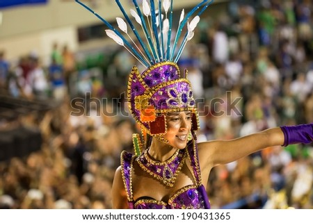 RIO DE JANEIRO, RJ /BRAZIL - MARCH 03:  Rio Samba School Uniao da Ilha do Governador perform, especial group in Carnival 2014 at Marques de Sapucai on march 03, 2014 in Rio de Janeiro - stock photo