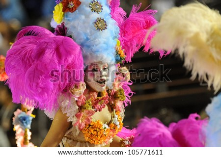 RIO DE JANEIRO, RJ /BRAZIL - MARCH 06, 2011: Samba School parade in Sambodromo. Vila Isabel School. Street during the great festival on march 6, 2011 in Rio de Janeiro. - stock photo