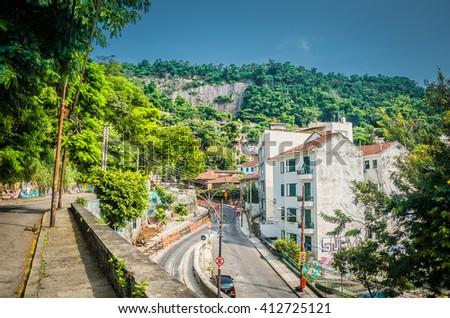 Rio De Janeiro, RJ, Brazil - March 07, 2016: Street of Rio De Janeiro along the road of Santa Teresa. - stock photo