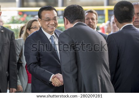 RIO DE JANEIRO, RJ - BRAZIL, MAY, 18, 2015 - Minister of China, Li Keqiang, the Administrative Center Metro Rio where is presented one of the 15 Chinese trains will circulate on subway line 4