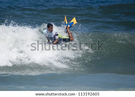 RIO DE JANEIRO - SEPT 16: Brahim Iddouch from Morocco performs during the event  2012 Rio Bodyboard International, September,16, 2012 in Rio de Janeiro, Brazil