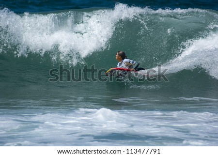 RIO DE JANEIRO - SEPT 14: Sonia Rocha Brazil from  performs during the event 2012 Rio Bodyboard International, September 14, 2012 in Rio de Janeiro, Brazil