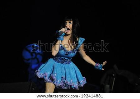 RIO DE JANEIRO, September 14, 2011 - Singer KATY PERRY the show, during the Rock in Rio. in Rio de Janeiro - stock photo