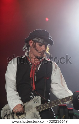 RIO DE JANEIRO, SETEMBER 24, 2015: Actor Johnny Depp during his show with his band Hollywood Vampires at Rock In Rio Festival.