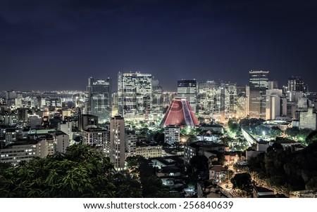 Rio de Janeiro skyscrapers night panorama, Brazil - stock photo