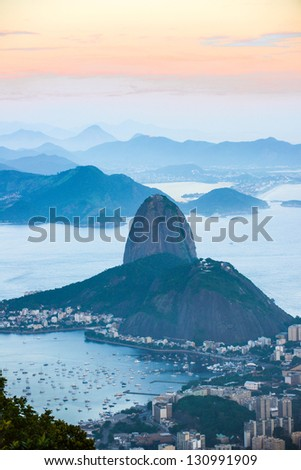 Rio de Janeiro, view from Corcovado to Sugarloaf Mountain (in Portuguese, P�£o de A�§�ºcar) - stock photo
