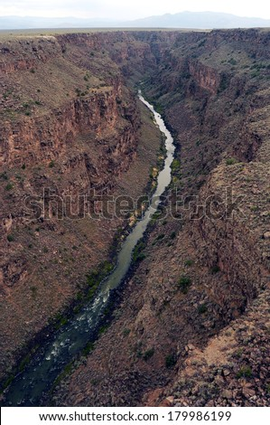 Rio Grande Gorge, Aerial view up the river in Taos, New Mexico, USA