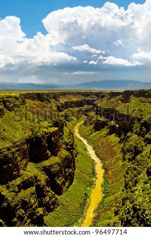 Rio Grande Gorge, New Mexico, near Taos. Aerial view up the river. - stock photo