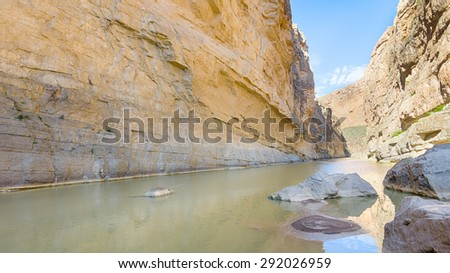 Rio Grande in Santa Elena Canyon, on the Ross Maxwell Scenic Drive, in Big Bend National Park, Texas. The river is the border between the USA and Mexico. - stock photo