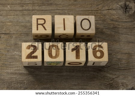 rio 2016 on a wooden background  - stock photo