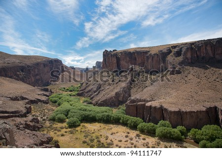 Rio Pinturas Valley in patagonia - stock photo