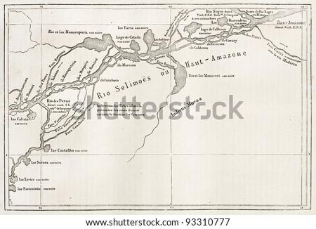 Rio Solimoes old map, Brazil (Amazon river before confluece with Rio Negro). By unidentified author, published on Le Tour du Monde, Paris, 1867 - stock photo