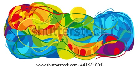 Rio. Summer Games 2016 abstract colorful background. Rio Brazil 2016 wallpaper. Summer color of Athletic games modern illustration. Summer Sport Brazil for Art, Print, web, advertising Olympian Games. - stock photo
