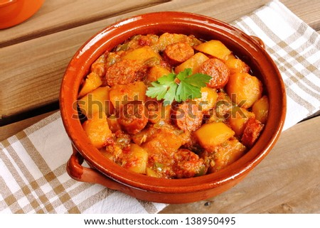 Riojan potatoes with chorizo, a traditional Spanish recipe