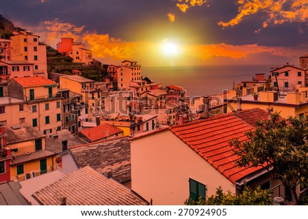 Riomaggiore at sunset, Cinque Terre National Park, Liguria, La Spezia, Italy - stock photo