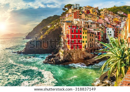 Riomaggiore at sunset, Cinque Terre National Park, Liguria, La Spezia, Italy