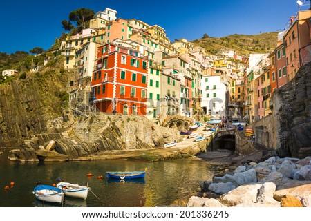 Riomaggiore, Cinqueterre, Cinque Terre National Park in Liguria, Italy - stock photo