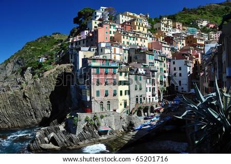 Riomaggiore fishermann village in Cinque Terre, Italy - stock photo
