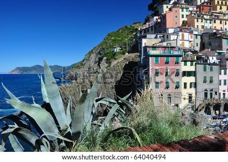 Riomaggiore fishermen village in Cinque Terre, Italy - stock photo