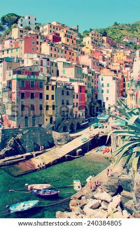 Riomaggiore in Cinque Terre of Italy - stock photo