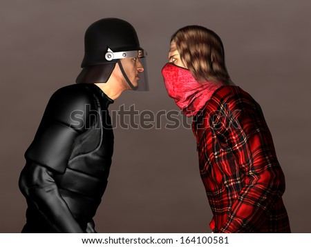 Riot police and protester - stock photo