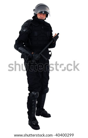 riot policeman isolated - stock photo