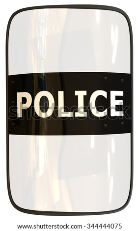 Riot shield isolated on white - stock photo