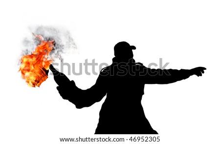 riot whit molotov cocktail - stock photo