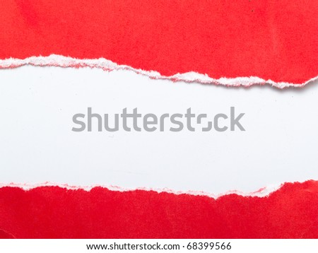 rip red paper and white background with space for text - stock photo