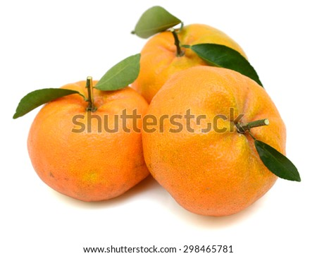 rip tangerines with leaves isolated on white - stock photo
