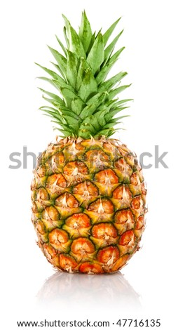 ripe ananas fruit with green leaves isolated on white background - stock photo