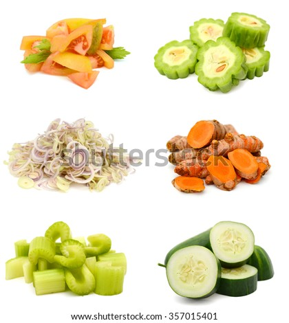 Ripe and chopped vegetables collection - stock photo