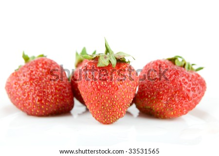 Ripe and fresh strawberries isolated on white background - stock photo