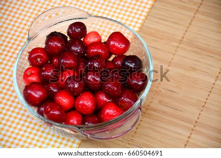 Ripe and juicy cherry