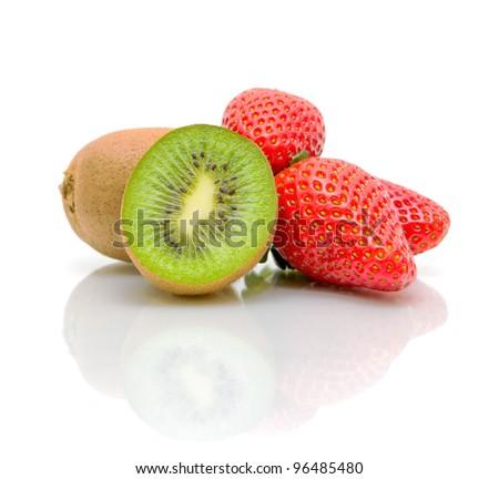 ripe and juicy kiwi and strawberry close-up - stock photo