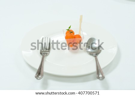 Ripe and Sweet of Refreshing Watermelon served on white plate, Selective focus - stock photo