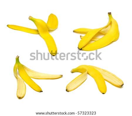 Ripe and tasty banana peel set isolated on white - stock photo