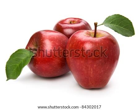 Ripe apple fruit closeup isolated on white background - stock photo