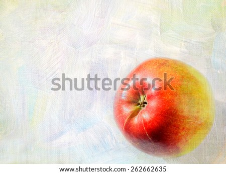Ripe apple fruit closeup on a grunge background - art card - stock photo